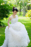 Chinese bride with wedding dress Stock Photo