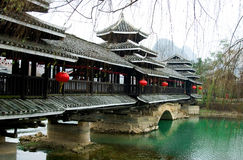 Chinese bridge. Green water and chinese traditional architecture in Guilin,china Royalty Free Stock Photos
