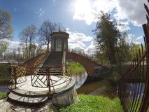 Chinese bridge in the Alexander Park in Pushkin Tsarskoye Selo, near Saint Petersburg Royalty Free Stock Image