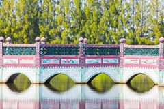 Chinese  bridge. Beautiful patterns in Thailand Royalty Free Stock Image