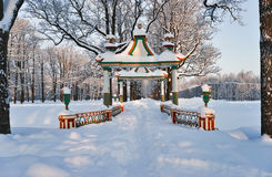 Chinese bridge in cold winter day Stock Photos
