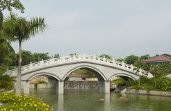 Chinese bridge and gardens, Sanya, China Royalty Free Stock Image