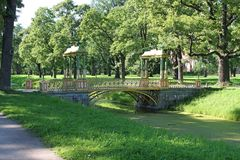 Chinese bridge in the New Garden of Alexander Park. Pushkin City. royalty free stock photos
