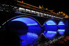 Chinese bridge at night Stock Photography