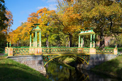 Chinese bridge. October in the Alexander park of Tsarskoye Selo, Russia Royalty Free Stock Photography