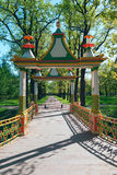 Chinese bridge in the park of Pushkin. Near St. Petersburg sunny summer day Stock Images