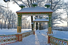 Chinese bridge in winter park Stock Image