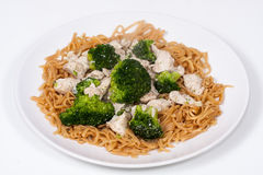 Chinese Broccoli Chicken with egg noodles Stock Photography