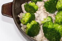 Chinese Broccoli Chicken preparations Royalty Free Stock Images