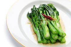 Chinese broccoli with oyster sauce Stock Image