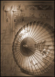 Chinese brolly. Old chinese sun brolley with chinese print and rice paper. Still life Stock Image