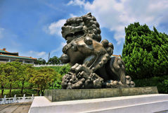 Chinese Bronze Guardian Lion. Chinese bronze guardian lion in front of the National Palace Museum in Taipei,Taiwan stock images