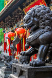 Chinese Bronze Lion Statue, Hong Kong. Royalty Free Stock Photos
