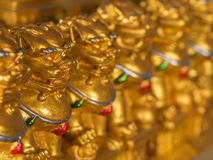 Chinese Bronze Lion Statues. In a Row royalty free stock images