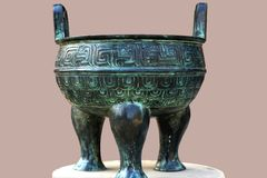 Chinese bronze pot. This is a beautiful Chinese bronze pot Stock Photo