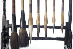 Chinese Brush. Used for calligraphy and chinese painting on a classic brush holder. This set of chinese calligraphy is one of the 4 treasures in a typical Royalty Free Stock Photography