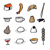 Chinese brush icons set food Stock Photography