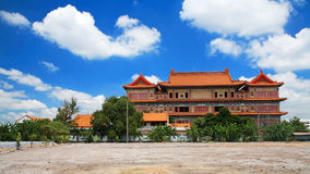 Chinese Buddhist monastery with blue sky Royalty Free Stock Photos