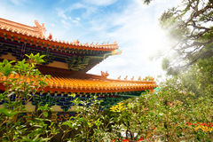 Chinese Buddhist monastery in the mountains. Stock Image