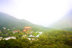 Chinese Buddhist monastery in the mountains. Royalty Free Stock Image