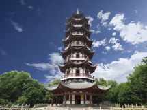 Chinese Buddhist pagoda in teample Stock Photography