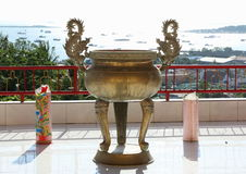 Chinese buddhist pot. At Pagoda Sapta Ratna in Sorong (Papua Barat, Indonesia Stock Photos