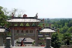 Chinese Buddhist Temple. Taking from one the highest point in YUquan Temple Stock Photo