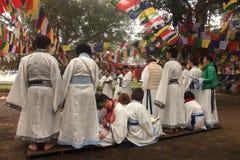 Chinese Buddhists prayers at Mayadevi temple Royalty Free Stock Photography