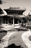 Chinese building. A black and white photo of a Chinese building royalty free stock photography
