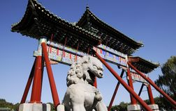 Chinese building architecture with lion statue Royalty Free Stock Image