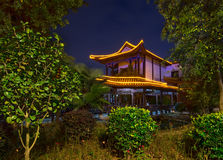 Chinese Building in Park at Night Royalty Free Stock Image
