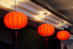 Chinese buildingl. The three red lanterns was hunged on eaves Stock Photos
