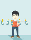 Chinese buisnessman hang his money Stock Photos