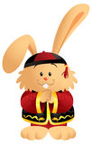 Chinese Bunny. Cute cartoon bunny wearing a traditional Chinese outfit Stock Photos