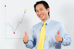 Chinese Business Manager presenting profit forecast stock image