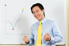 Chinese Business Manager presenting profit forecast Stock Photo
