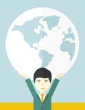 Chinese Businessman carrying big globe Stock Photos
