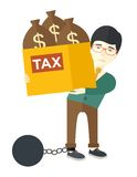 Chinese businessman locked in debt Royalty Free Stock Image
