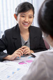 Chinese businesswoman talking to her client Stock Images
