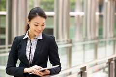 Chinese Businesswoman Working On Tablet Computer Stock Photography