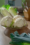 Chinese cabbage and cauliflower kitchen still life Royalty Free Stock Images