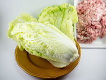 Chinese cabbage in dish with Minced pork Royalty Free Stock Photo
