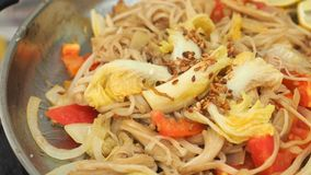 Chinese cabbage and Enoki mushrooms fried with butter Stock Photo