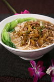 Chinese cabbage noodles with shredded meat Royalty Free Stock Photos