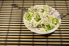 Chinese cabbage salad with green pepper and onion. Chinese cabbage salad with a green pepper and onion Stock Photography