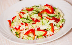 Chinese cabbage salad with red bell pepper and cucumber Royalty Free Stock Photos