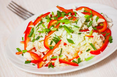 Chinese cabbage salad with red bell pepper Stock Image
