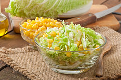 Chinese cabbage salad with sweet corn Royalty Free Stock Photography