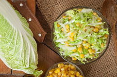 Chinese cabbage salad with sweet corn Royalty Free Stock Photos