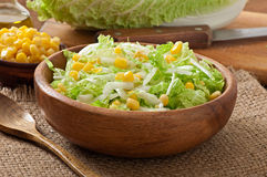 Chinese cabbage salad with sweet corn Stock Image